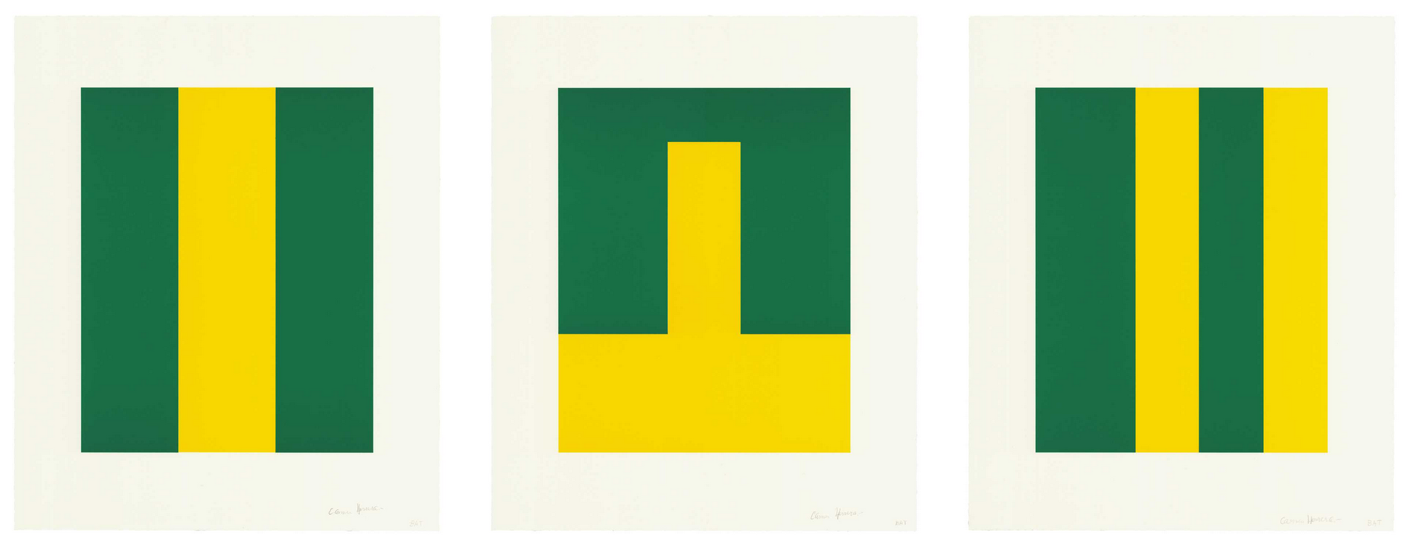 Carmen Herrera <br> <i>Verde y Amarillo, 2017</i> <br> Portfolio of three lithographs <br> 21 1/4 x 17 1/2 inches, each <br> Ed. 20 <br>
