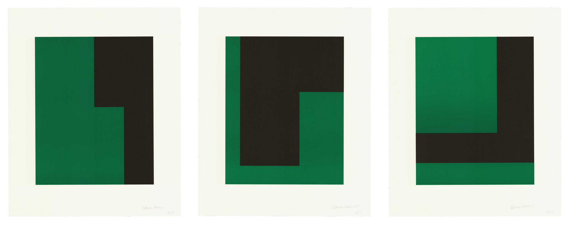 Carmen Herrera <br> <i>Verde y Negro, 2017</i> <br>  Portfolio of three lithographs <br>  21 1/4 x 17 1/2 inches, each <br>  Ed. 20 <br>