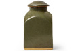 BERNARD LEACH STONEWARE JAR WITH SEMI-GLOSS GREEN GLAZE, 1950–70, STAMED MARKS LEACH POTTERY AND ST. IVES, CORNWALL, 7 x 4 x 4