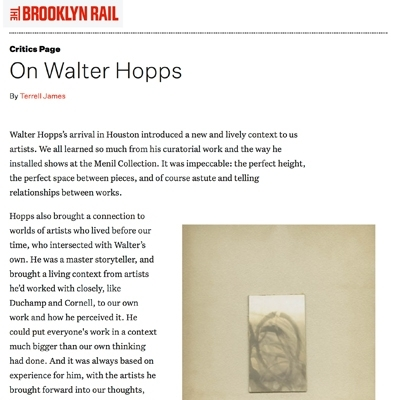 "Terrell James ""On Walter Hopps,"" in The Brooklyn Rail"
